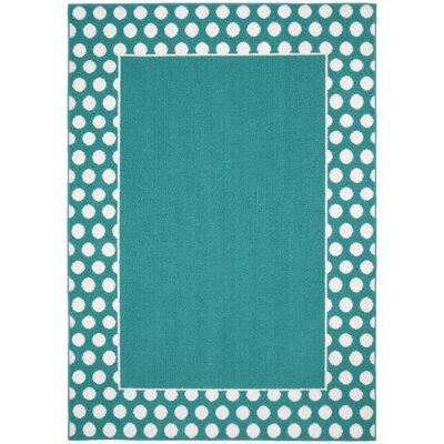 Polka Dot Frame Teal/White Area Rug Rug Size: 5 x 7
