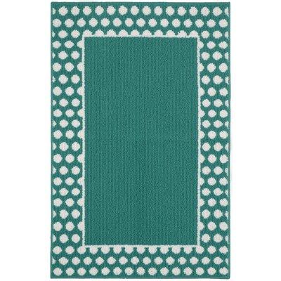 Polka Dot Frame Teal/White Area Rug Rug Size: 26 x 310