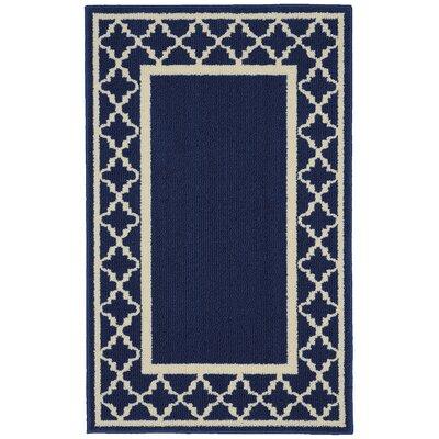 Moroccan Frame Indigo/Ivory Area Rug Rug Size: 26 x 310