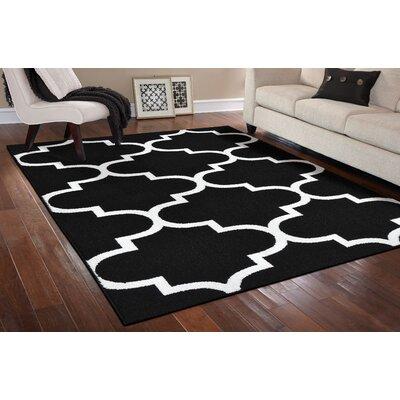 Large Quatrefoil Black/White Area Rug Rug Size: 26 x 310