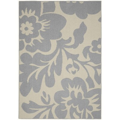 Floral Garden Silver/Ivory Area Rug Rug Size: 5 x 7