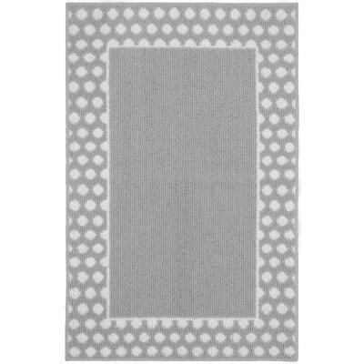 Polka Dot Frame Silver/White Area Rug Rug Size: 26 x 310