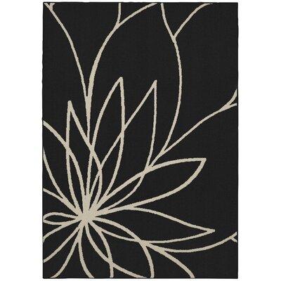 Grand Floral Black/Ivory Area Rug Rug Size: 26 x 310