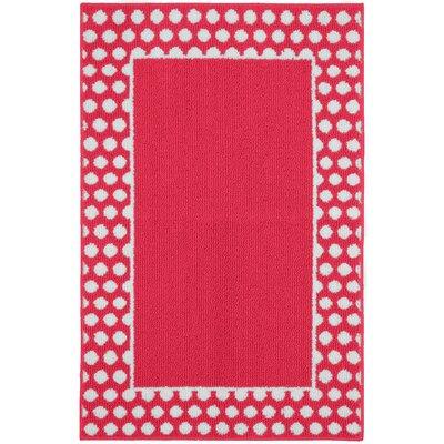 Polka Dot Frame Pink/White Area Rug Rug Size: 26 x 310