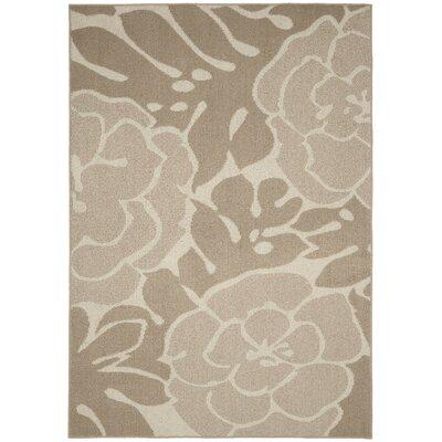 Valencia Tan/Ivory Area Rug Rug Size: 5 x 7