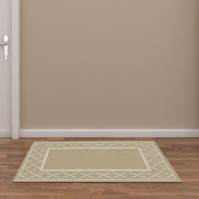 Moroccan Frame Tan/Ivory Area Rug Rug Size: 5 x 7