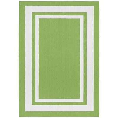 Ginger Green/White Indoor/Outdoor Area Rug Rug Size: 5 x 7