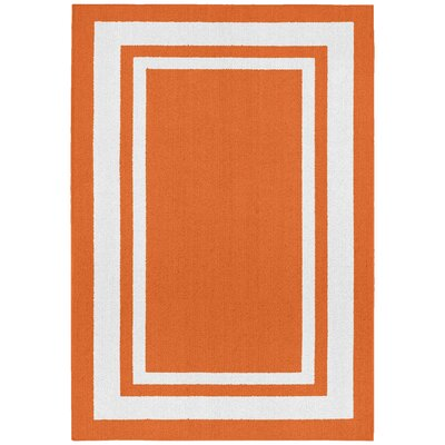 Ginger Orange/White Indoor/Outdoor Area Rug Rug Size: 2 x 5