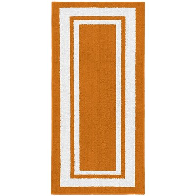Ginger Orange/White Indoor/Outdoor Area Rug Rug Size: 5 x 7