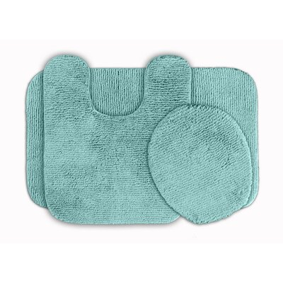 Glamour 3 Piece Bath Rug Set Color: Sea Foam