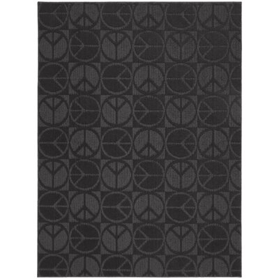 Black Large Peace Indoor/Outdoor Area Rug Rug Size: 76 x 96