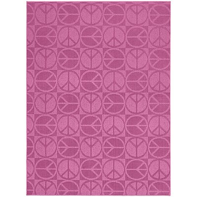 Pink Large Peace Indoor/Outdoor Area Rug Rug Size: 5 x 7