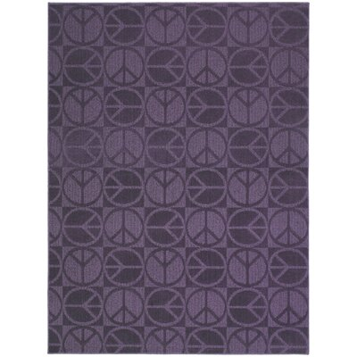 Purple Large Peace Indoor/Outdoor Area Rug Rug Size: 76 x 96
