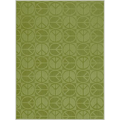 Lime Large Peace Indoor/Outdoor Area Rug Rug Size: 5 x 7