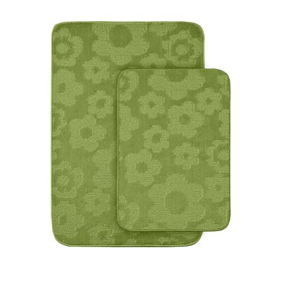 Flower 2 Piece Bath Rug Set Color: Lime Green