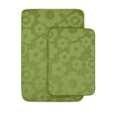 Flower 2 Piece Bath Rug Set Color: Lime Green
