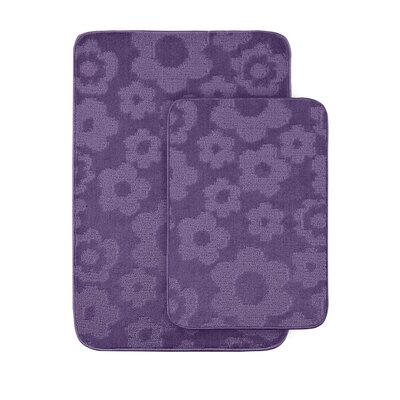 Flower 2 Piece Bath Rug Set Color: Purple