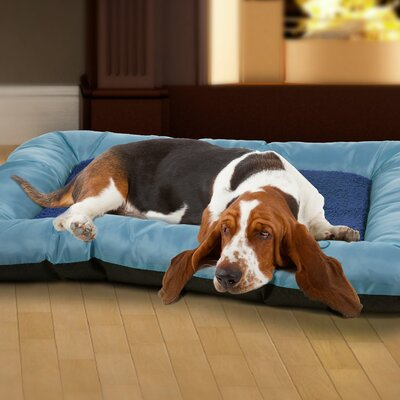 Burke Plush Cozy Pet Crate Bolster Size: Large (28 W x 24 D x 3.5 H), Color: Blue