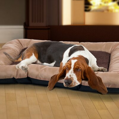 Burke Plush Cozy Pet Crate Bolster Size: Extra Large (46 W x 30 D x 4.25 H), Color: Tan