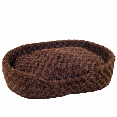 Calvin Cuddle Round Plush Bolster with Open Front Size: Medium (27.5 W x 18.5 D x 6.5 H), Color: Brown