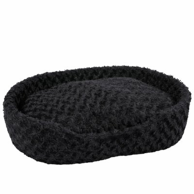 Cuddle Round Plush Bolster with Open Front Size: Small (24 W x 14 D x 6.5 H), Color: Black
