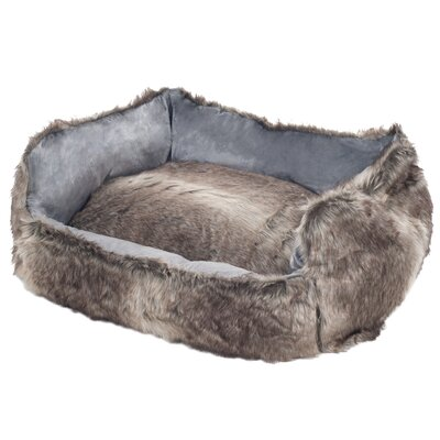 Faux Fur Wolf Dog Bed Size: Small (23 x 19)