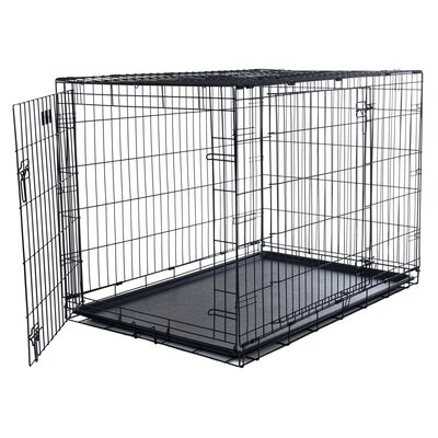 Double Door Foldable Pet Crate Size: Large (25 H x 23 W x 36 D)