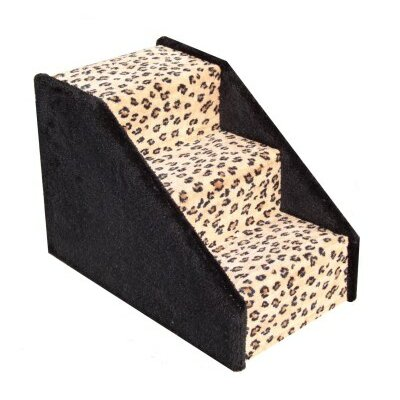 Dog Stairs Carpeted 3 Step Pet Stair Color: Leopard