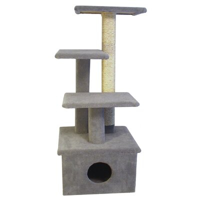 44 The Scruff Jr. Cat Tree Option: Without Sisal Rope or Curved Shelf, Color: Gray
