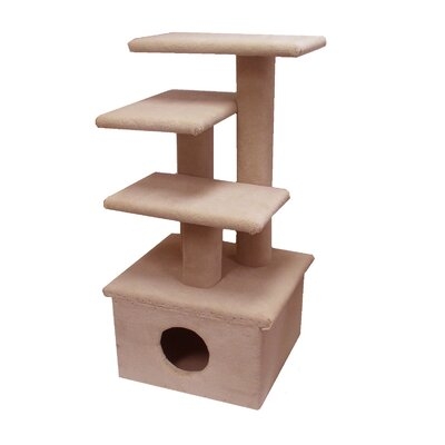 44 The Scruff Jr. Cat Tree Option: Without Sisal Rope or Curved Shelf, Color: Beige