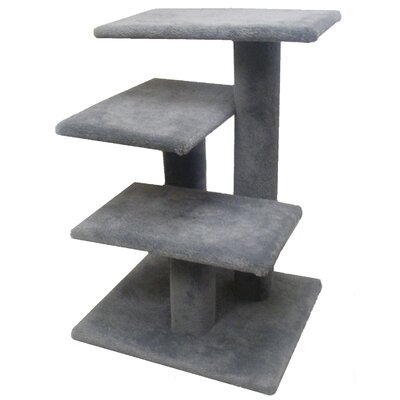 31 Lucy Cat Tree Option: Without Sisal Rope or Curved Shelf, Color: Gray