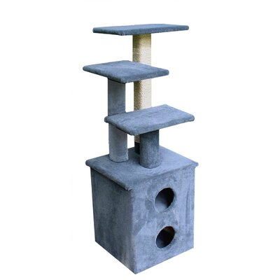55 The Scruff  Cat Tree Color: Gray, Option: With Sisal Rope and Curved Shelf