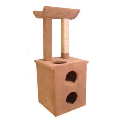 47 The Pepper Cat Perch Option: With Curved Shelf, Color: Beige