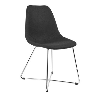 Wool Side Chair Finish: Chrome, Upholstery: Black