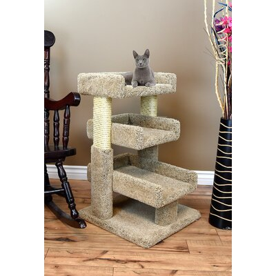 33 Prestige Solid Wood Large Triple Cat Tree Color: Brown