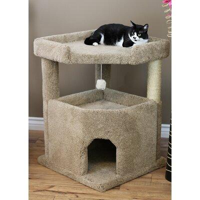 33 Prestige Solid Wood Condo Mansion Cat Tree Color: Brown
