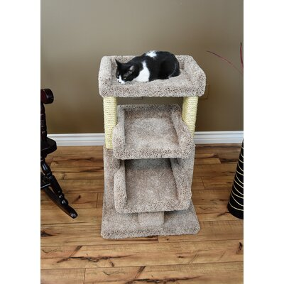 33 Prestige Solid Wood Large Triple Cat Tree Color: Beige