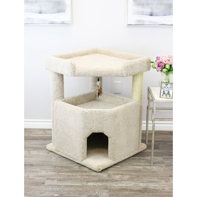 33 Prestige Solid Wood Condo Mansion Cat Tree Color: Beige