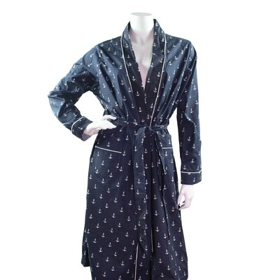 Cotton Bathrobe Size: Small, Color: Navy