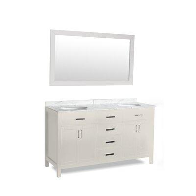 Weatherford 72 Double Bathroom Vanity Set with Mirror Base Finish: White