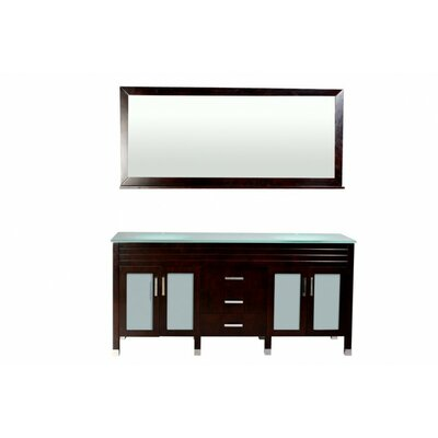 Dayton 72 Double Bathroom Vanity Set with Mirror Base Finish: Espresso