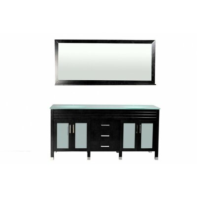 Dayton 72 Double Bathroom Vanity Set with Mirror Base Finish: Black