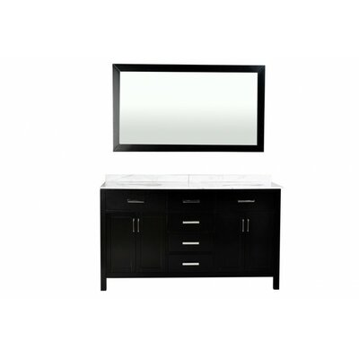 Hampton 72 Double Bathroom Vanity Set with Mirror Base Finish: Black