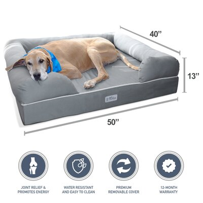 Ultimate Dog Bed & Lounge Premium Edition with Solid Memory Foam Size: Jumbo XL (13 H x 50 W x 40 D)