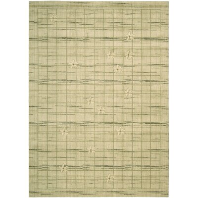 Woven Textures Scattered Blossom Natural Area Rug Rug Size: 19 x 29