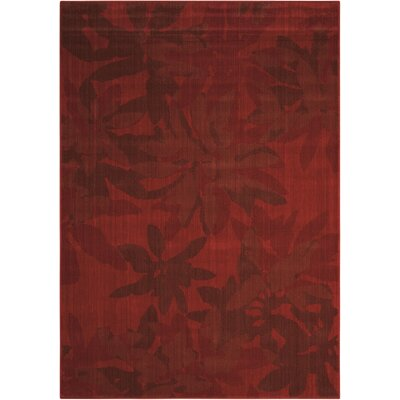 Urban Winter Flower Garnet Area Rug Rug Size: 53 x 75