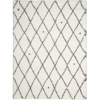 Riad Ivory/Gray Area Rug Rug Size: Rectangle 53 x 73