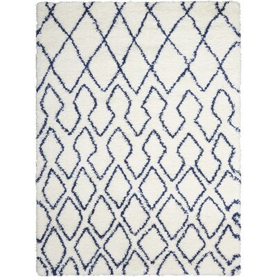 Riad Ivory/Navy Area Rug Rug Size: Rectangle 9 x 12