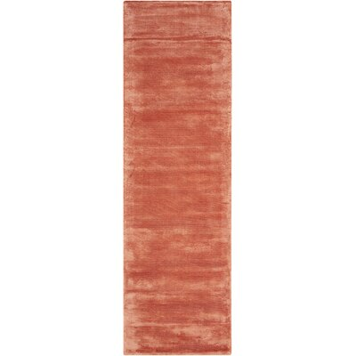 Lunar Hand-Woven Luminescent Rib Rust Area Rug Rug Size: Runner 23 x 75