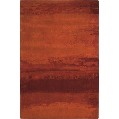 Luster Wash Hand Woven Wool Russet Tones Rust Area Rug Rug Size: Rectangle 56 x 8